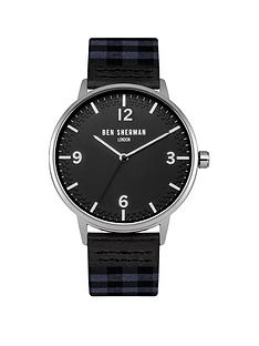 ben-sherman-ben-sherman-black-dial-check-grey-amp-navy-fabric-strap-mens-watch