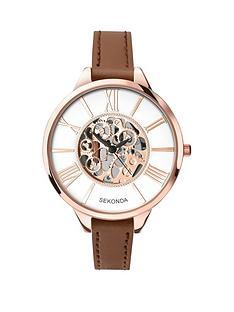 sekonda-sekonda-white-dial-skeleton-rose-tone-case-tan-leather-strap-ladies-watch