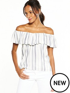 v-by-very-frill-printed-top-bluewhite