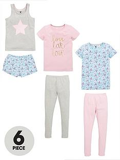 v-by-very-girls-floral-love-pyjama-set-6-piece