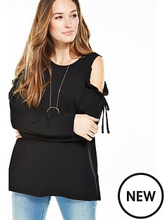 v-by-very-tie-detail-cold-shoulder-sweat-top