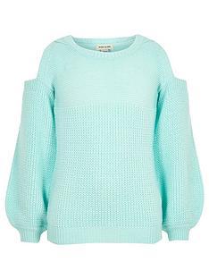 river-island-girls-mint-green-knit-cold-shoulder-jumper