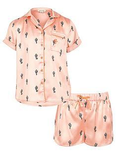 river-island-girls-pink-cactus-shirt-and-shorts-pyjama-outfit