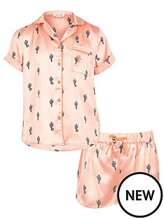 river-island-girls-pink-cactus-shirt-and-shorts-pyjama-outfit