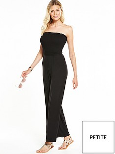 v-by-very-petite-petite-strapless-shirred-top-jumpsuit-black