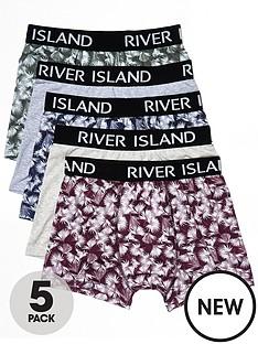 river-island-5pk-leaf-print-trunks