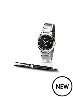 accurist-accurist-black-dial-stainless-steel-bracelet-watch-amp-pen-mens-gift-set
