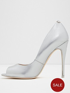 Aldo Stellaa High Heel Court Shoe Silver