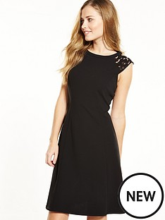 wallis-lace-shoulder-detail-fit-and-flare-dress-black