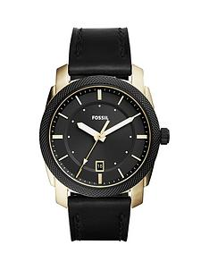 fossil-fossil-machine-black-dial-black-leather-strap-mens-watch