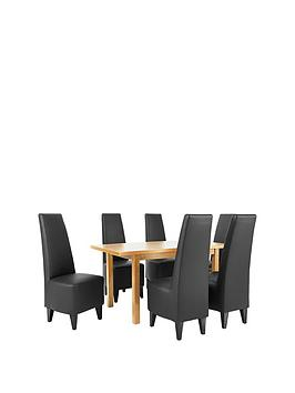 evelyn-120-150-cm-solid-wood-extending-dining-table-6-manhattan-chairs