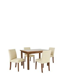 Evelyn 120 150 Cm Solid Wood Extending Dining Table 4 Lucca Chairs