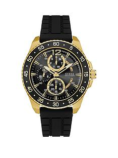 guess-jet-guess-men039s-black-and-gold-watch-with-aluminium-trim-and-black-textured-strap