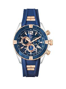 gc-sportracer-swiss-movement-silver-case-rose-gold-amp-blue-bezel-with-blue-dial-and-blue-silicone-strap-with-rose-gold-inserts