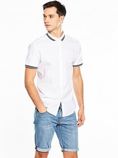 v-by-very-short-sleeve-textured-rib-collar-shirt