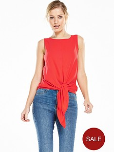 vero-moda-trisha-tie-bow-top-red