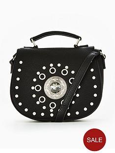 miss-selfridge-black-studded-saddle-bag