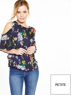 v-by-very-petite-floral-ruffle-cold-shoulder-top