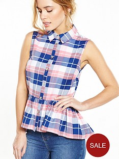 v-by-very-petite-petite-checked-peplum-shirt