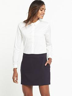 french-connection-bernice-jersey-shirt-dress-whiteblue