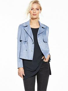 miss-selfridge-suedette-cropped-trench-blue