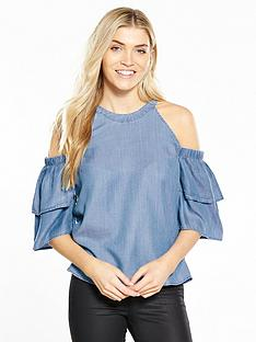 miss-selfridge-denim-frill-cold-shoulder-top