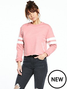 miss-selfridge-stripe-sweat-top-coral