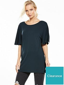 miss-selfridge-frill-sleeve-lattice-back-cupro-tunic-black