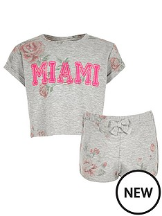 river-island-girls-grey-floral-crop-top-and-shorts-set