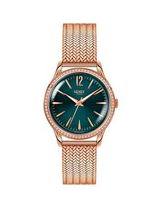 henry-london-henry-london-stratford-ladies-green-dial-rose-tone-stainless-steel-mesh-bracelet-ladies-watch