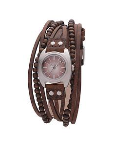 kahuna-kahunas-brown-beaded-multi-strap-ladies-watch