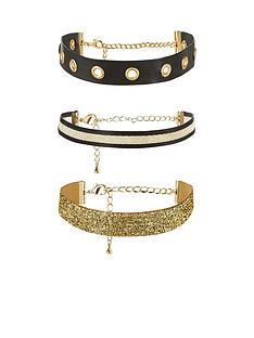v-by-very-mixed-blackgold-3-pk-choker-set