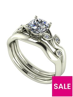 moissanite-9ct-gold-105ctnbsptotal-round-brilliant-centre-vine-bridal-set
