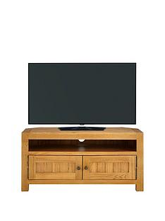 Luxe Collection   Grantham 100% Solid Oak Ready Assembled Corner TV Unit    Fits Up To 50 Inch TV