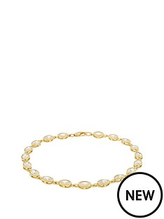 the-love-silver-collection-sterling-silver-gold-plated-cubic-zirconia-tennis-bracelet
