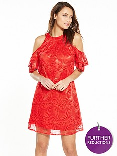 little-mistress-mini-cold-shoulder-lace-skater-dress