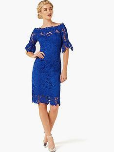 paper-dolls-crochet-lace-bardot-flute-sleeve-dress-bright-blue