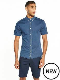 river-island-short-sleeve-muscle-fit-denim-shirt