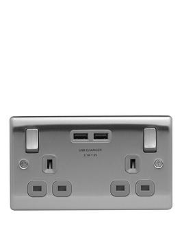 british-general-brushed-steel-double-switched-socket-with-x2-usb-sockets--31a