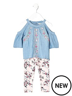 river-island-mini-girls-denim-cold-shoulder-top-and-legging-set