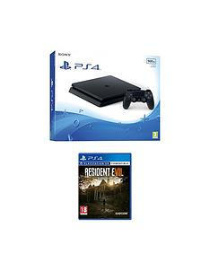 playstation-4-slimnbsp500gbnbspblack-console-with-resident-evil-7nbspplus-optional-extra-controller-andor-12-months-playstation-network