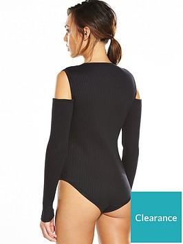 ellesse-potel-cold-shoulder-rib-bodysuit