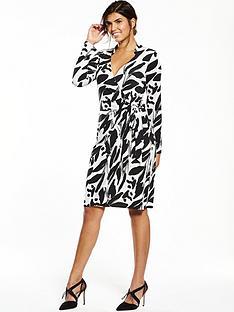 wallis-neutral-print-wrap-dress-blackwhite