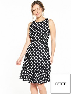 wallis-petite-fluted-hem-spot-dress