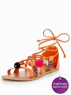 v-by-very-pom-pom-strappy-flat-sandal-orange