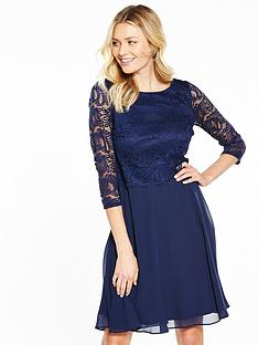 wallis-lace-fit-and-flare-dress-navy