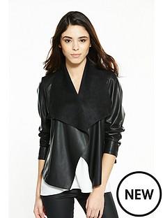 wallis-petite-pu-waterfall-marcel-jacket-black