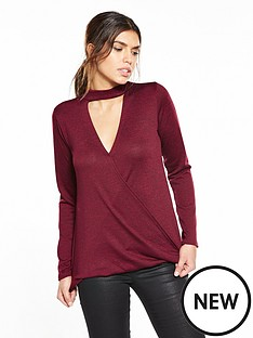 v-by-very-drape-front-choker-jersey-knit-top