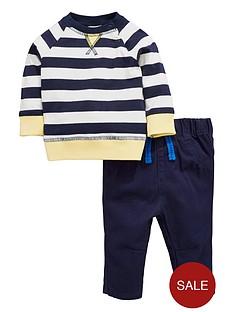 ladybird-baby-boys-stripe-ls-tee-and-woven-trouser-set