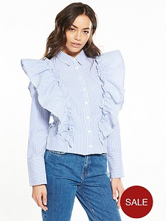 neon-rose-stripe-frill-shirt-bluewhite